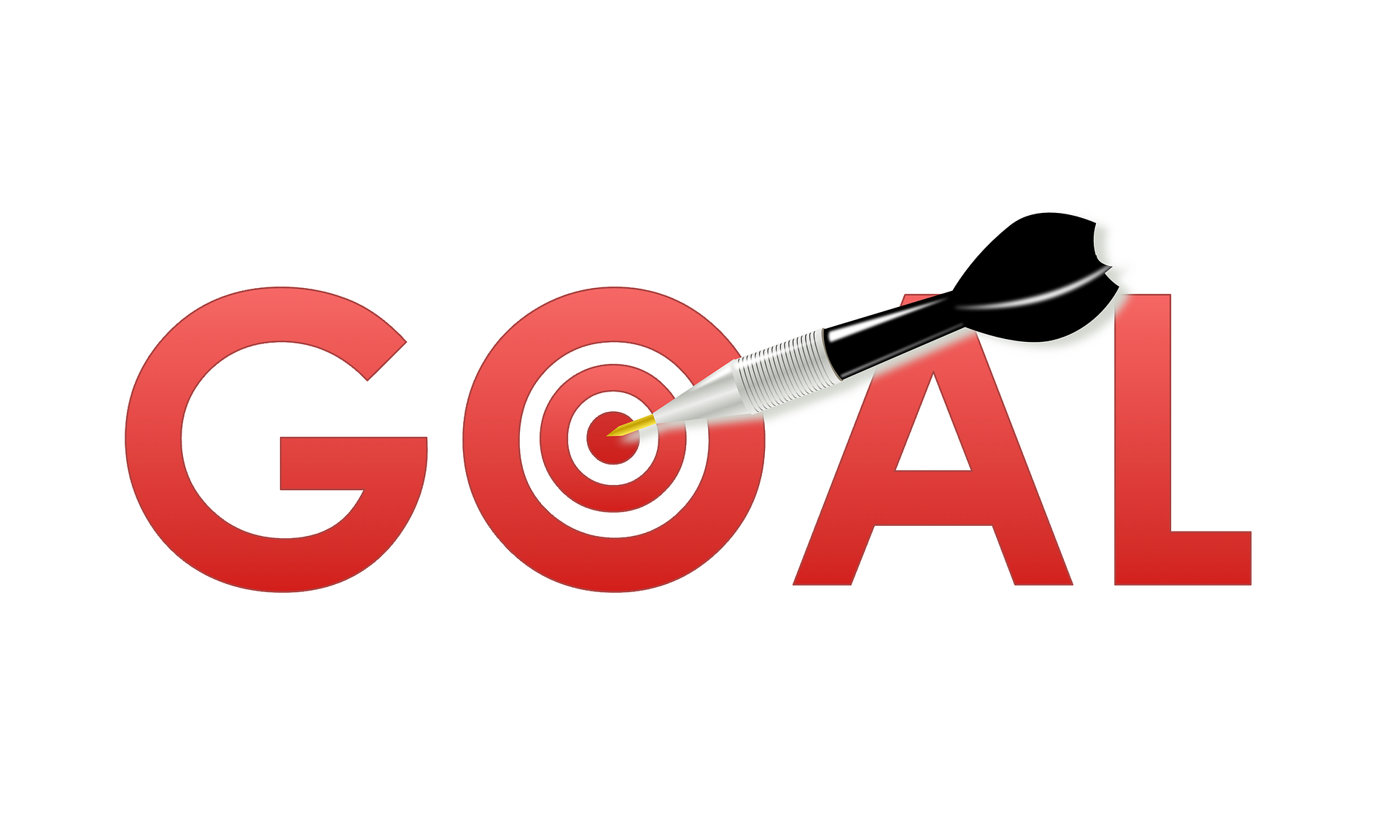 An illustration of the word GOAL with an arrow