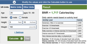 Calculator for Basal Metabolic Rate (BMR)
